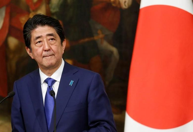 Japanese Prime Minister Shinzo Abe attends a joint news conference with his Italian counterpart Paolo Gentiloni (not pictured) at the end of a meeting at Chigi Palace in Rome, Italy March 21, 2017. REUTERS/Remo Casilli