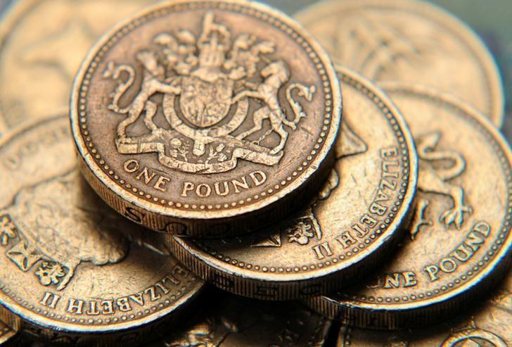 A pile of one pound coins is seen in a photo illustration shot June 17, 2008.  REUTERS/Toby Melville/Illustration/File Photo