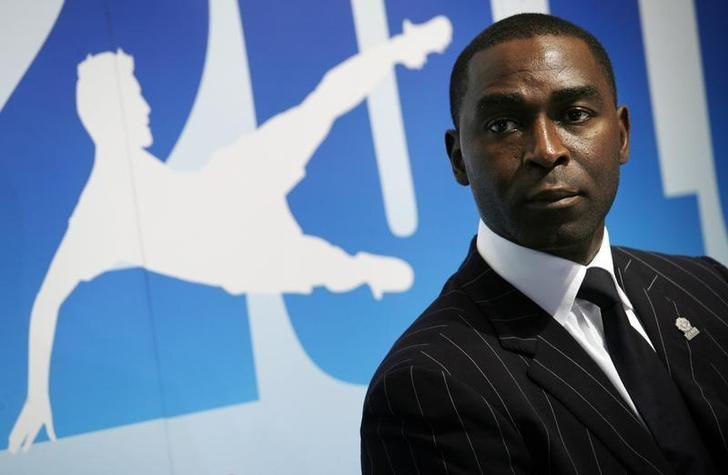 Former Manchester United striker Andy Cole attends a news conference in Hong Kong April 13, 2010.  REUTERS/Bobby Yip