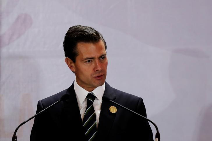 President Enrique Pena Nieto, addresses the audience during the XVI Summit of Heads of State and Government of the Tuxtla Mechanism for Dialogue and Coordination in San Jose, Costa Rica March 29, 2017. REUTERS/Randall Campos