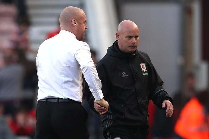 Britain Football Soccer - Middlesbrough v Burnley - Premier League - The Riverside Stadium - 8/4/17 Middlesbrough caretaker manager Steve Agnew shakes hands with Burnley manager Sean Dyche at the end of the match Reuters / Scott Heppell Livepic