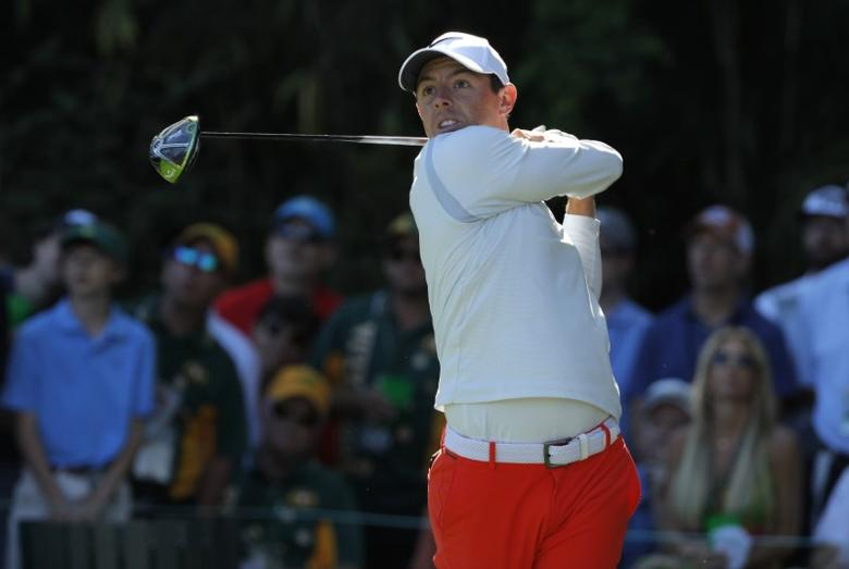 Rory McIlroy of Northern Ireland hits off the 13th tee in third round play during the 2017 Masters golf tournament at Augusta National Golf Club in Augusta, Georgia, U.S., April 8, 2017. REUTERS/Jonathan Ernst
