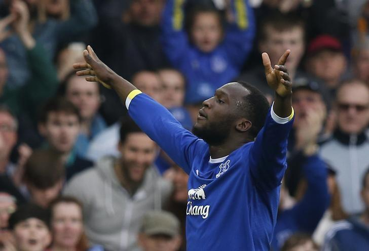 Britain Football Soccer - Everton v Leicester City - Premier League - Goodison Park - 9/4/17 Everton's Romelu Lukaku celebrates scoring their fourth goal  Reuters / Andrew Yates Livepic