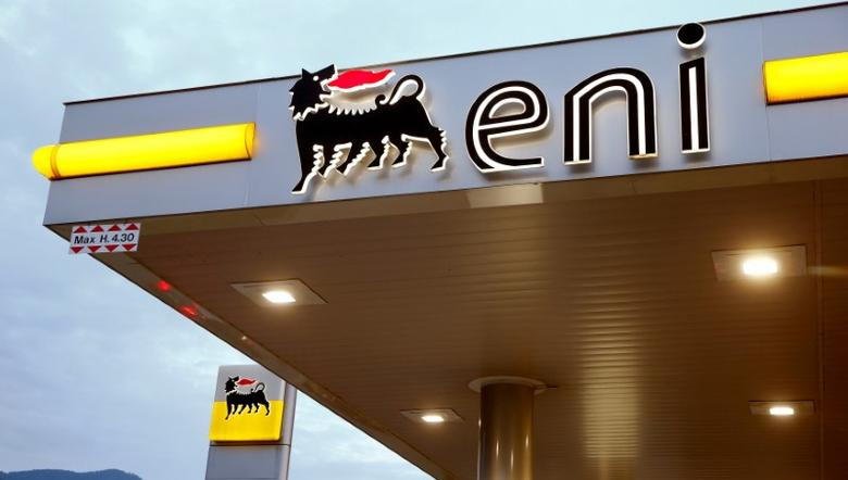 FILE PHOTO: The logo of Italian energy company Eni is seen at an Agip gas station in Lugano, Switzerland June 3, 2016.  REUTERS/Arnd Wiegmann/File Photo
