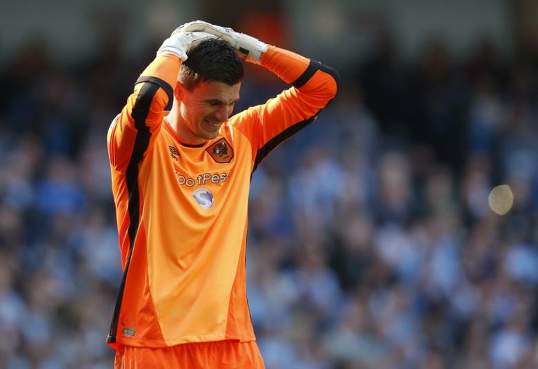 Britain Football Soccer - Manchester City v Hull City - Premier League - Etihad Stadium - 8/4/17 Hull City's Eldin Jakupovic looks dejected  Action Images via Reuters / Ed Sykes Livepic