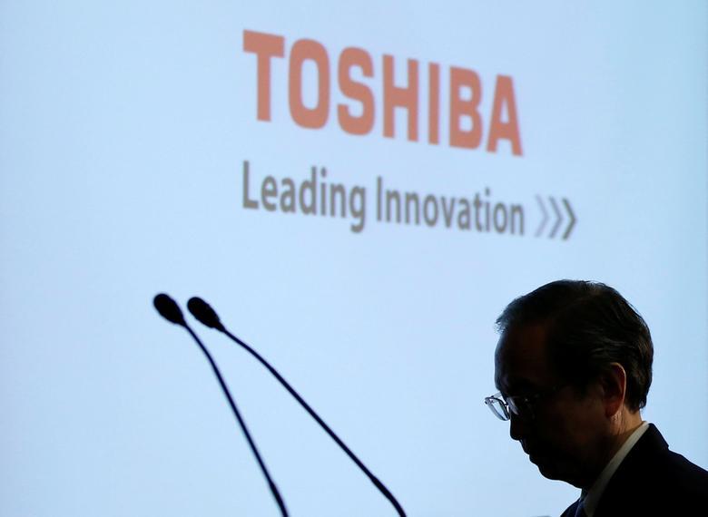 Toshiba Corp CEO Satoshi Tsunakawa attends a news conference at the company's headquarters in Tokyo, Japan, April 11, 2017.    REUTERS/Toru Hanai