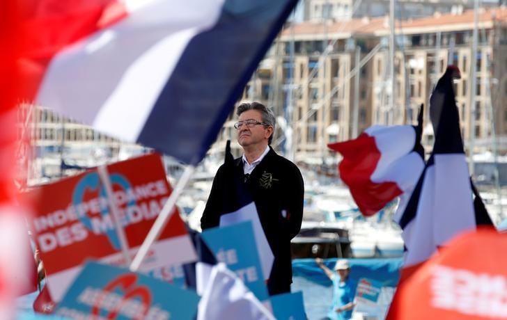 Jean-Luc Melenchon of the French far left Parti de Gauche and candidate for the 2017 French presidential election delivers a speech during a political rally in Marseille, France, April 9, 2017.   REUTERS/Jean-Paul Pelissier/File Photo