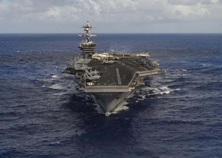 """2017年1月30日,美国""""卡尔文森号""""航母在太平洋。图片由美国海军提供。"""