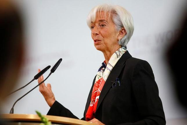 International Monetary Fund (IMF) Managing Director Christine Lagarde holds a speech to present the report ''Making Trade an Engine of Growth for All: The Case for Trade and For Policies to Facilitate Adjustment'' in Berlin, Germany, April 10, 2017. REUTERS/Hannibal Hanschke