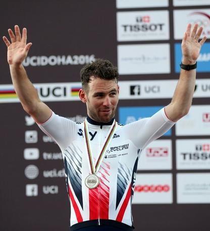 File Photo - Second-placed Mark Cavendish of Britain poses on the podium at the end of Men Elite Road Race in the UCI Road World Championships 2016, in Doha, Qatar, October 16, 2016. REUTERS/Ibrahem Alomari