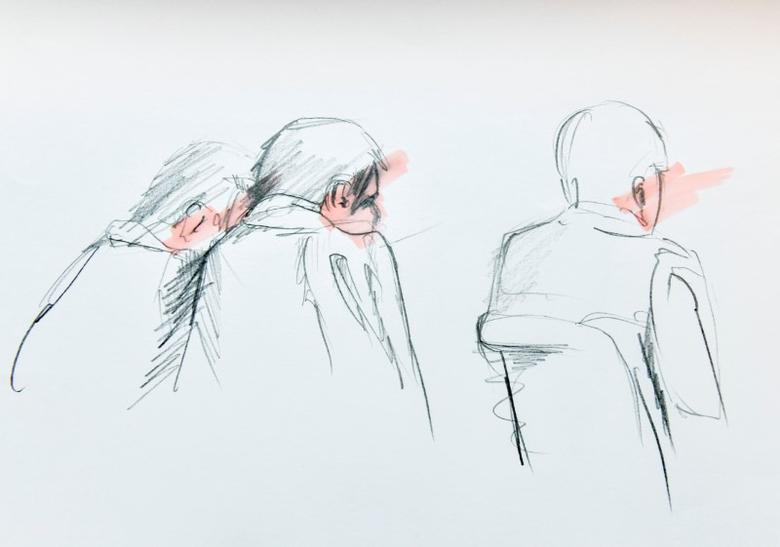 An artist's impression of Uzbek national Rakhmat Akilov (C), the prime suspect in Friday's truck attack together with his defence counsels during Tuesday's remand hearing in the Stockholm District Court. Due to security restrictions, no frontal coverage was possible.  Johan Hallnas /TT News Agency/via REUTERS