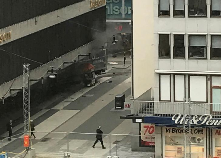 A truck has crashed into Ahlens department store at Drottninggatan in the center of Stockholm, Sweden April 7, 2017.  TT News Agency/Andreas Schyman/via REUTERS