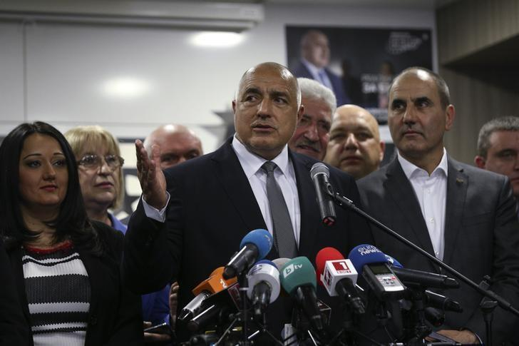 FILE PHOTO: Boiko Borisov speaks during a news conference at the party's headquarters in Sofia, Bulgaria March 26, 2017.  REUTERS/Stoyan Nenov/File Photo