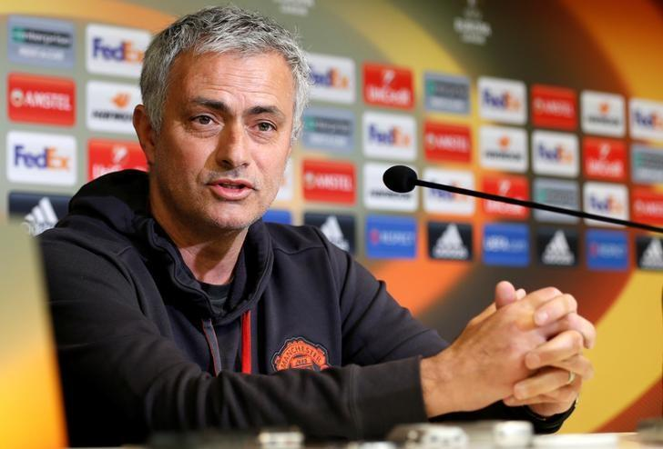 Football Soccer - Manchester United news conference - UEFA Europa League quarterfinal first leg - Constant Vanden Stock Stadium, Brussels, Belgium - 12/4/2017 - Manchester United manager Jose Mourinho attends a news conference. REUTERS/Francois Lenoir