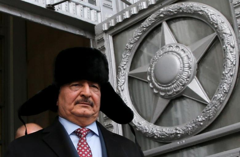 General Khalifa Haftar, commander in the Libyan National Army (LNA), leaves after a meeting with Russian Foreign Minister Sergei Lavrov in Moscow, Russia, November 29, 2016. REUTERS/Maxim Shemetov