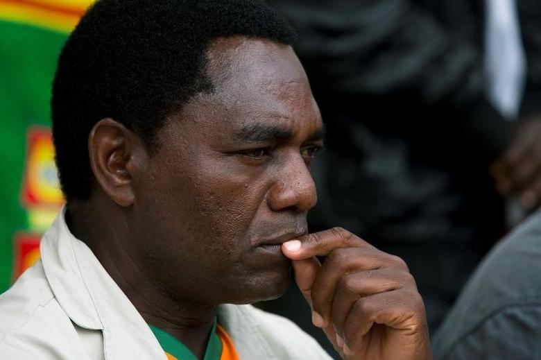 FILE PHOTO: Hakainde Hichilema looks on during a rally in Lusaka January 18, 2015.  REUTERS/Rogan Ward/Files
