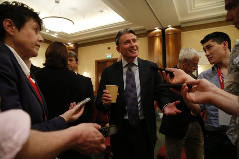 Britain Athletics - IAAF Press Conference - London Marriott Hotel, West India Quay, Canary Wharf - 13/4/17 IAAF President Sebastian Coe after the press conference Action Images via Reuters / Paul Childs Livepic