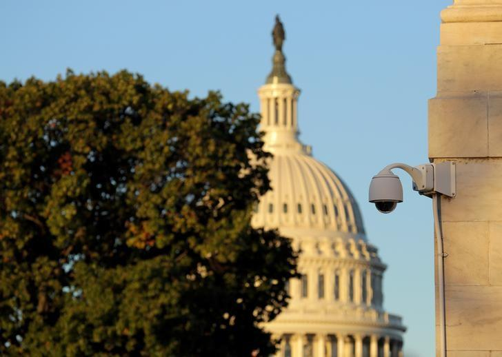 A security camera hangs near the U.S. Capitol in Washington, U.S., November 7, 2016.      REUTERS/Joshua Roberts
