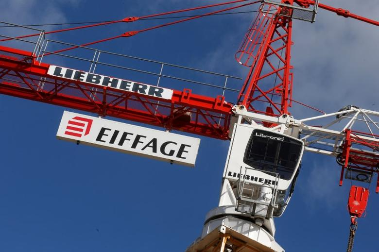 View of the logo of French construction group Eiffage on a crane at a job site in Paris, France, March 2, 2016.   REUTERS/Jacky Naegelen/File Photo