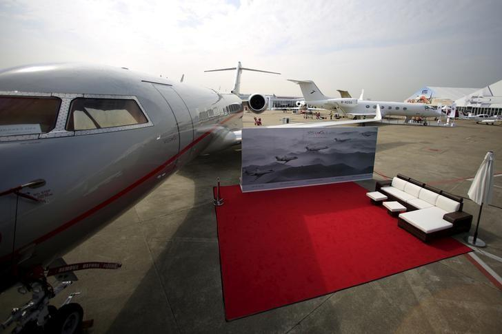 FILE PHOTO: A VistaJet aircraft is seen at the Asian Business Aviation Conference and Exhibition (ABACE) at Hongqiao International Airport in Shanghai, China, April 11, 2016. REUTERSAly Song/File Photo