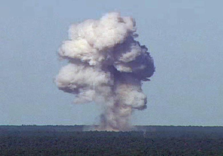 The GBU-43/B, also known as the Massive Ordnance Air Blast, detonates during a test at Elgin Air Force Base, Florida, U.S., November 21, 2003 in this handout photo provided April 13, 2017.  REUTERS/U.S. Air Force photo/Handout via REUTERS