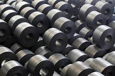 Rolled steel are seen at a Hyundai Steel plant in Dangjin, about 130 km (81 miles) southwest of Seoul June 15, 2011. South Korea's No. 2 steelmaker, Hyundai Steel sees its supply of automotive steel to affiliates Hyundai Motor and Kia Motors rising more than 50 percent this year on the back of their strong sales growth, an executive said. Picture taken June 15, 2011.     REUTERS/Lee Jae-Won (SOUTH KOREA - Tags: BUSINESS TRANSPORT)