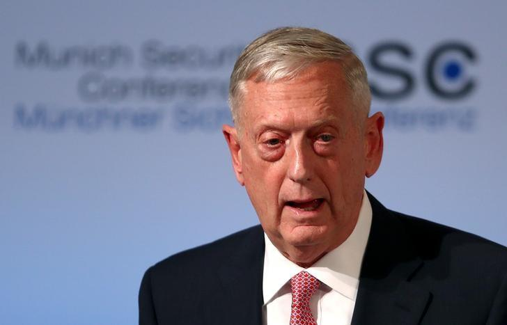 FILE PHOTO: U.S. Defense Secretary Jim Mattis speaks at the opening of the 53rd Munich Security Conference in Munich, Germany, February 17, 2017.  REUTERS/Michael Dalder
