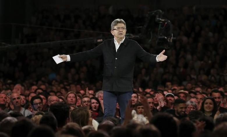 FILE PHOTO: Jean-Luc Melenchon of the French far left Parti de Gauche and candidate for the 2017 French presidential election, attends a political rally in Lille, France, April 12, 2017.   REUTERS/Pascal Rossignol
