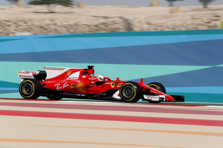 Formula One - F1 - Bahrain Grand Prix - Sakhir, Bahrain - 14/04/17 - Ferrari Formula One driver Sebastian Vettel of Germany drives during the first practice session of the Bahrain F1 Grand Prix. REUTERS/Hamad I Mohammed