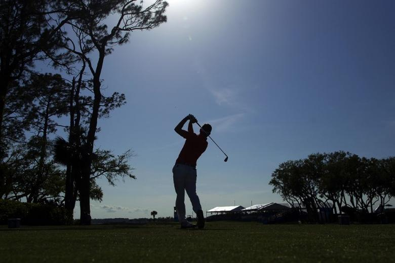Apr 14, 2017; Hilton Head, SC, USA; Luke Donald tees off on the seventeenth hole during the second round of the RBC Heritage golf tournament at Harbour Town Golf Links. Mandatory Credit: Joshua S. Kelly-USA TODAY Sports