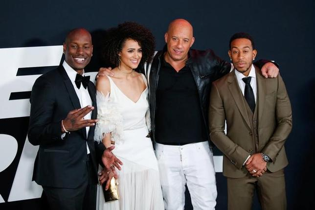 Actors Tyrese Gibson, Nathalie Emmanuell, Vin Diesel and Ludacris attend 'The Fate Of The Furious' New York premiere at Radio City Music Hall in New York, U.S. April 8, 2017. REUTERS/Eduardo Munoz