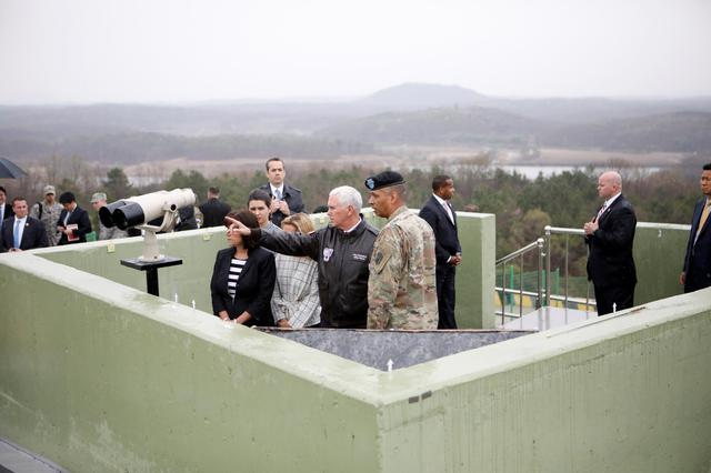 U.S. Vice President Mike Pence looks toward the north from an observation post inside the demilitarized zone separating the two Koreas, in Paju, South Korea, April 17, 2017.  REUTERS/Kim Hong-Ji