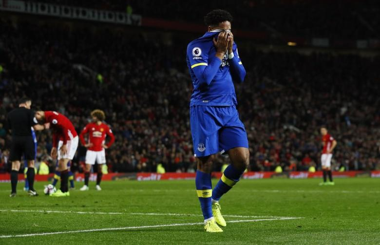 Britain Football Soccer - Manchester United v Everton - Premier League - Old Trafford - 4/4/17 Everton's Ashley Williams walks off dejected after being sent off Action Images via Reuters / Jason Cairnduff Livepic