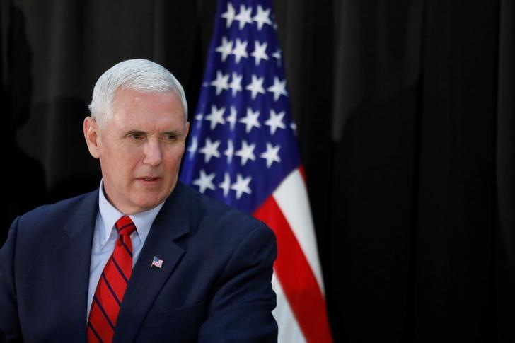 U.S. Vice President Mike Pence speaks during an Easter fellowship dinner at a military base in Seoul, South Korea, April 16, 2017.  REUTERS/Kim Hong-Ji/Files