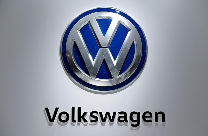 FILE PHOTO - The logo of German car maker Volkswagen is pictured at the company's stand during the Hannover Fair in Hanover, Germany, April 25, 2016. REUTERS/Wolfgang Rattay/File Photo