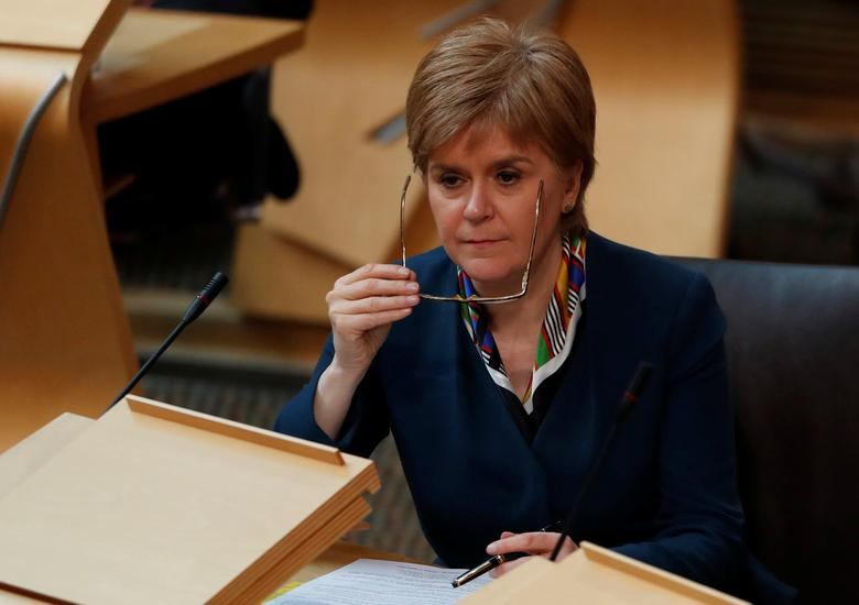 FILE PHOTO: Scotland's First Minister Nicola Sturgeon attends Parliament in Edinburgh, Scotland, Britain March 29, 2017. REUTERS/Russell Cheyne
