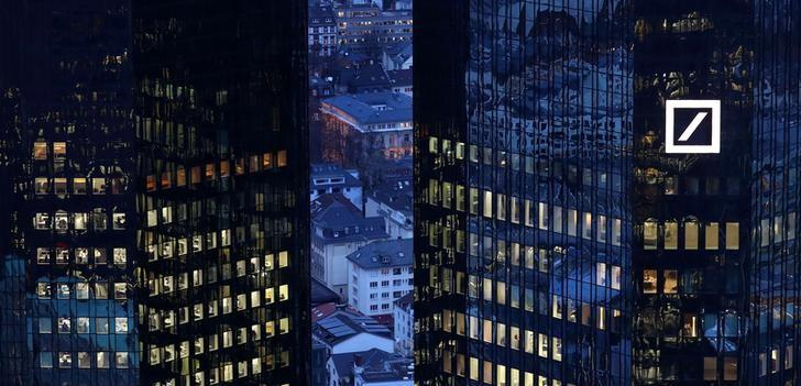 The headquarters of Germany's Deutsche Bank are seen early evening in Frankfurt, Germany January 31, 2017. REUTERS/Kai Pfaffenbach/Files
