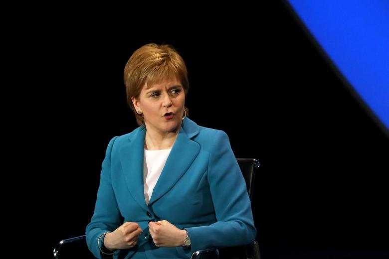 FILE PHOTO: Scotland's First Minister Nicola Sturgeon speaks during the Women In The World Summit at the David H. Koch Theater at Lincoln Center in New York City, April 6, 2017. REUTERS/Shannon Stapleton
