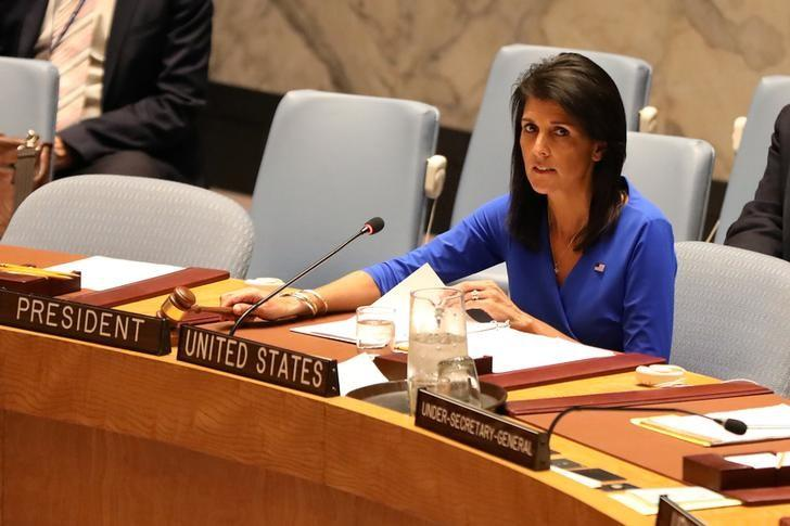 U.S. Ambassador to the United Nations Nikki Haley gavels a United Nations Security Council at the United Nations Headquarters in New York City, NY, U.S. April 5, 2017. REUTERS/Shannon Stapleton