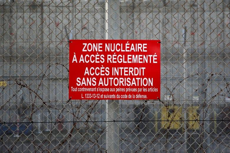 A restricted area sign is seen on the construction site of the third-generation European Pressurised Water nuclear reactor (EPR) in Flamanville, France, November 16, 2016. REUTERS/Benoit Tessier