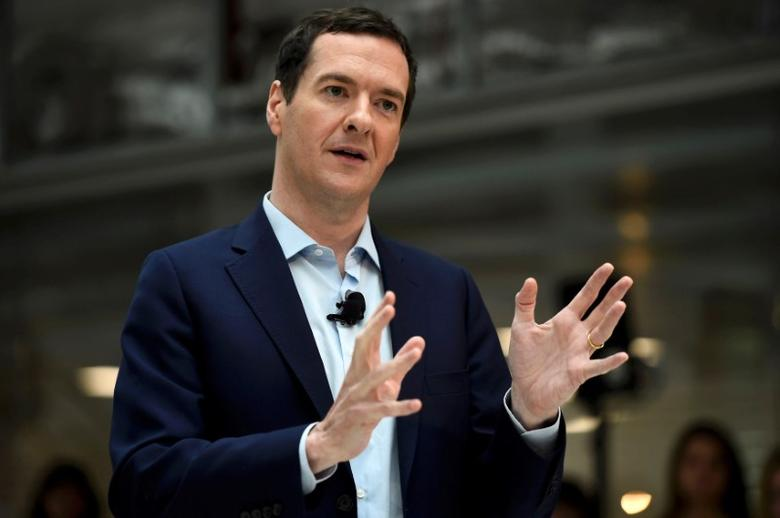 FILE PHOTO: George Osborne speaks in Bournemouth, southern Britain, June 3, 2016. REUTERS/Dylan Martinez/File Photo