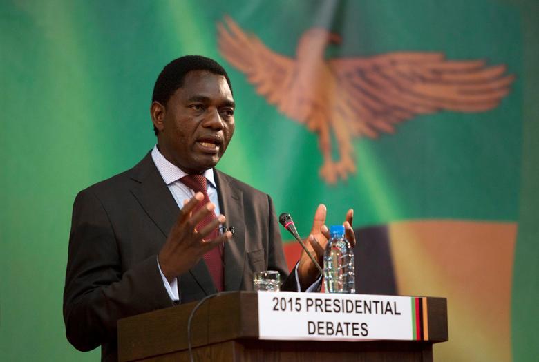 FILE PHOTO: Hakainde Hichilema speaks during a live television debate in Lusaka, Zambia January 15, 2015.  REUTERS/Rogan Ward/File Photo