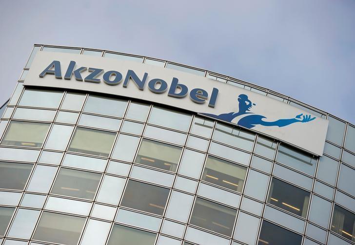Akzo Nobel's logo is seen in Amsterdam, Netherlands, February 16, 2012.    REUTERS/Robin van Lonkhuijsen/United Photos/File Photo