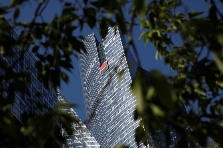 A view shows the logo on the headquarters's of French bank Societe Generale at the financial and business district of La Defense, west of Paris, France, April 18, 2017. REUTERS/Benoit Tessier