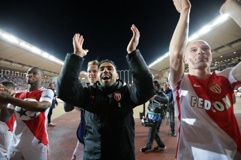 Football Soccer - AS Monaco v Borussia Dortmund - UEFA Champions League Quarter Final Second Leg - Stade Louis II, Monaco - 19/4/17 Monaco's Radamel Falcao celebrates after the match  Reuters / Eric Gaillard Livepic