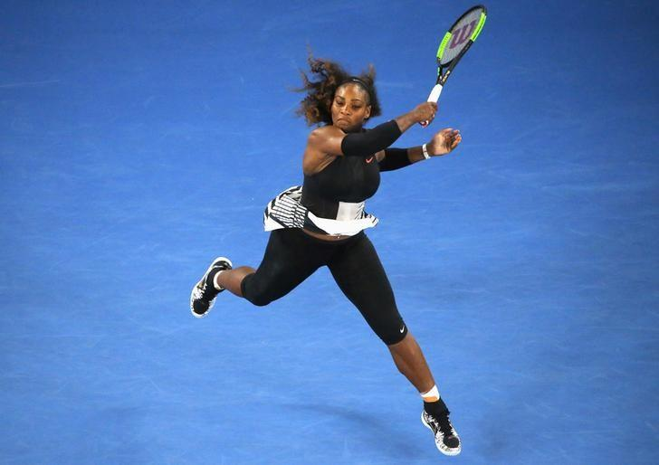 Tennis - Australian Open - Melbourne Park, Melbourne, Australia - 19/1/17 Serena Williams of the U.S. hits a shot during her Women's singles second round match against Czech Republic's Lucie Safarova. REUTERS/Jason Reed