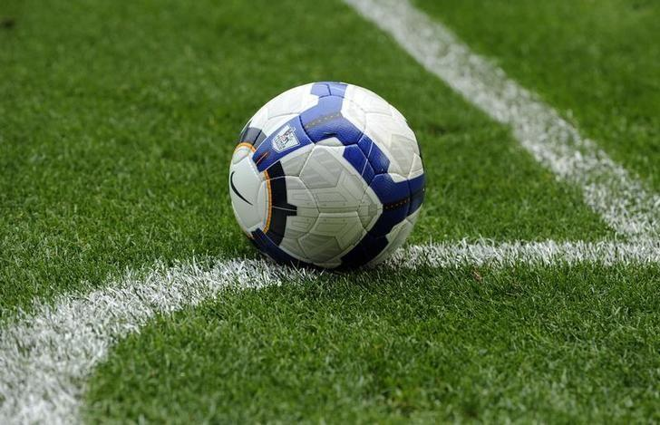 File Photo: A football is rests on the pitch during the English Premier League soccer match between Burnley and Everton in Burnley August 23, 2009. REUTERS/Nigel Roddis