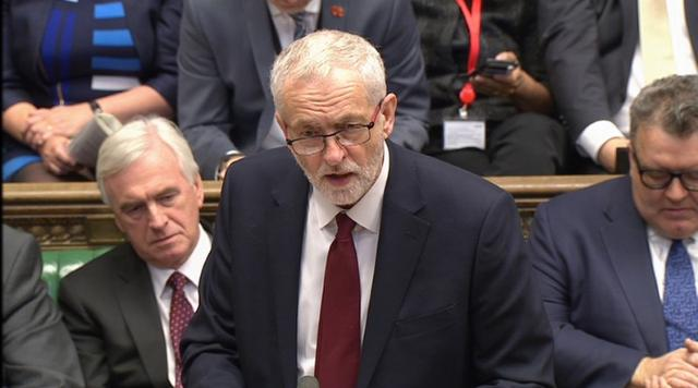 A still image from a video footage shows Britain's opposition Labour Party leader Jeremy Corbyn addressing the House of Commons in central London April 19, 2017.  Parbul TV/Handout via Reuters