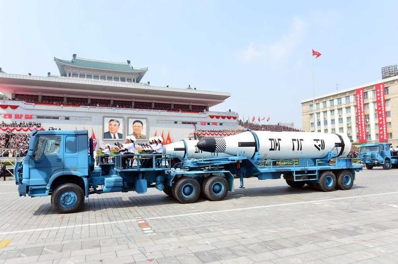 Military vehicles carry missiles with characters reading ''Pukkuksong'' during a military parade marking the 105th birth anniversary of country's founding father Kim Il Sung, in this undated photo, released by North Korea's Korean Central News Agency (KCNA), April 16, 2017. Picture taken April 16, 2017.   KCNA/via REUTERS ATTENTION EDITORS - THIS PICTURE WAS PROVIDED BY A THIRD PARTY. REUTERS IS UNABLE TO INDEPENDENTLY VERIFY THE AUTHENTICITY, CONTENT, LOCATION OR DATE OF THIS IMAGE. FOR EDITORIAL USE ONLY. NOT FOR SALE FOR MARKETING OR ADVERTISING CAMPAIGNS. NO THIRD PARTY SALES. NOT FOR USE BY REUTERS THIRD PARTY DISTRIBUTORS. SOUTH KOREA OUT. NO COMMERCIAL OR EDITORIAL SALES IN SOUTH KOREA. THIS PICTURE IS DISTRIBUTED EXACTLY AS RECEIVED BY REUTERS, AS A SERVICE TO CLIENTS. - RTS12PR7