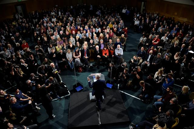 Britain's opposition Labour Party's leader Jeremy Corbyn gives a speech in central London, April 20, 2017. REUTERS/Hannah Mckay